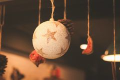 Interior decorations for coffee shops during the Christmas and New Year festivals stock images
