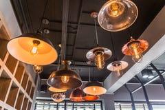 Interior of decorative antique edison style filament old lighting decor bulb. Select focus Stock Photo
