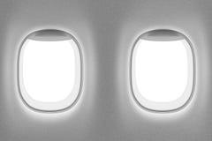 Interior del aeroplano con dos ventanas Imagen de archivo