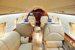 Interior del aeroplano del jet fotografía de archivo