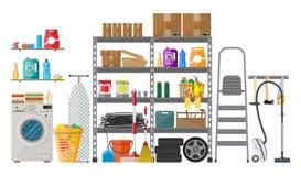 Interior del almacén moderno stock de ilustración
