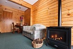 Interior del apartamento de la casa de campo del glaciar del Fox fotografía de archivo