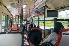 Interior del autobús de visita turístico de excursión del lazo de Hiroshima Imagenes de archivo