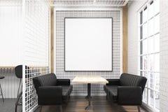 Interior del café con la rejilla y los sofás negros ilustración del vector