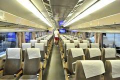 Interior del carro ferroviario vacío Fotos de archivo libres de regalías