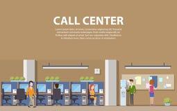 Interior del centro de atención telefónica con los consultores para la ayuda social y los ordenadores ilustración del vector