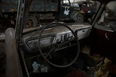 Interior del coche del vintage fotos de archivo
