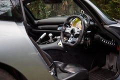 Interior del coche deportivo inglés toscano de TVR Foto de archivo