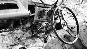 Interior del coche roto forgotton Imagenes de archivo