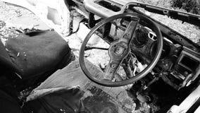 Interior del coche roto forgotton Imagen de archivo libre de regalías