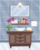 Interior del cuarto de baño con el lavabo en estilo plano ilustración del vector