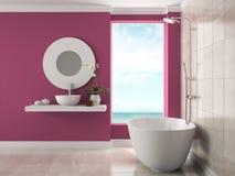 Interior del cuarto de baño con la representación de la opinión 3D del mar fotografía de archivo