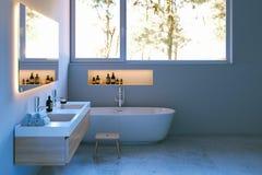 Interior del cuarto de baño de la elegancia con el piso de mármol 3d rinden Fotografía de archivo libre de regalías
