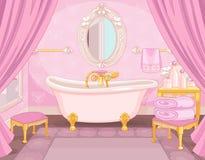 Interior del cuarto de baño en el castillo ilustración del vector