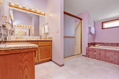 Interior del cuarto de baño en tono rosa claro Imagen de archivo