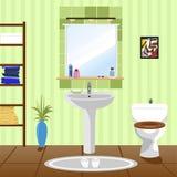 Interior del cuarto de baño verde con el fregadero, retrete ilustración del vector