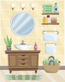 Interior del cuarto de ba?o con el lavabo en estilo plano stock de ilustración