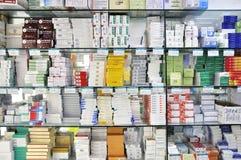 Interior del departamento de la farmacia Imágenes de archivo libres de regalías