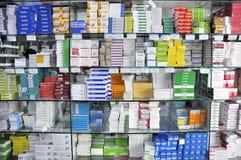 Interior del departamento de la farmacia Fotografía de archivo libre de regalías