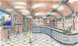 Interior del departamento de tienda de comestibles con gammon y vino Fotografía de archivo libre de regalías