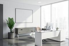 Interior del despacho de dirección blanco con el cartel ilustración del vector