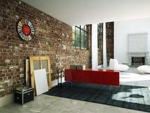 Interior del desván con la pared de ladrillo y la mesa de centro 3d Imagen de archivo libre de regalías