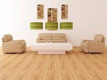 Interior del diseño de la sala de estar moderna de la elegancia stock de ilustración