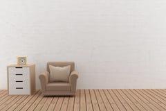 Interior del diseño del sofá en el cuarto vacío en el illlustration 3D Imagen de archivo