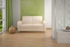 Interior del diseño. Sofá en sala de estar. Foto de archivo libre de regalías