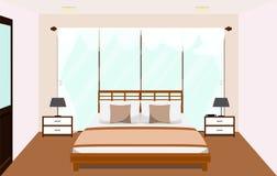 Interior del dormitorio con la ventana de cristal de los muebles Ejemplo plano del vector Imágenes de archivo libres de regalías