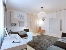 Interior del dormitorio de los adolescentes con zona de trabajo Fotografía de archivo