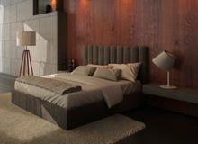 Interior del dormitorio del diseño moderno con la pared de madera y de piedra Foto de archivo libre de regalías
