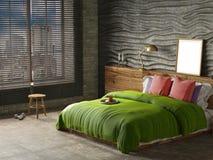 Interior del dormitorio en color verde imagen de archivo libre de regalías