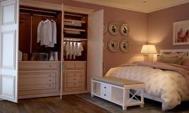 Interior del dormitorio en el estilo de Provence Imagen de archivo libre de regalías