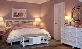 Interior del dormitorio en el estilo de Provence Fotos de archivo