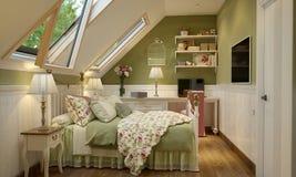 Interior del dormitorio en el verde del estilo de Provence Fotografía de archivo libre de regalías