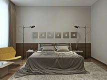 Interior del dormitorio en estilo contemporáneo Imagen de archivo