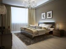 Interior del dormitorio en estilo moderno imagenes de archivo