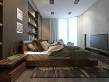 Interior del dormitorio en estilo moderno Fotos de archivo