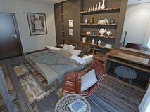 Interior del dormitorio en estilo moderno Foto de archivo libre de regalías