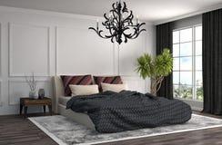 Interior del dormitorio ilustración 3D Fotos de archivo libres de regalías