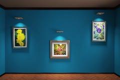 interior del ejemplo 3d Emparede el entarimado y los pedestales en la pared colgaron tres pinturas con las flores Imagen de archivo