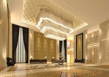 Interior del ejemplo del pasillo 3D de la recepción del hotel stock de ilustración