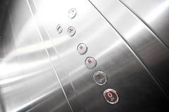 Interior del elevador del metal Foto de archivo libre de regalías