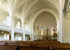 Interior del Evangélico-Lutheran Stt Cathe de Peter-y-Paul Fotos de archivo libres de regalías