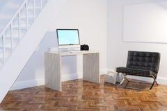 Interior del gabinete del trabajo doméstico con la butaca negra y el marco vacío Foto de archivo