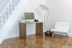 Interior del gabinete del trabajo doméstico con la opinión de perspectiva blanca de la butaca y de la iluminación Foto de archivo libre de regalías