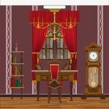 Interior del gabinete o de la sala de estar con la ventana grande y el reloj grande libre illustration