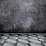 interior del grunge 3D con el piso plateado de metal Foto de archivo libre de regalías
