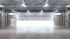 Interior del hangar con la puerta abierta fotografía de archivo libre de regalías